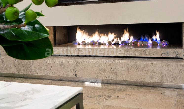 Grey limestone fireplace