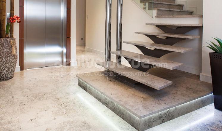 Grey limestone staircases