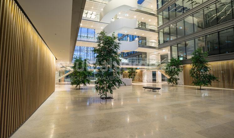 Grey limestone floor tiles on large hall