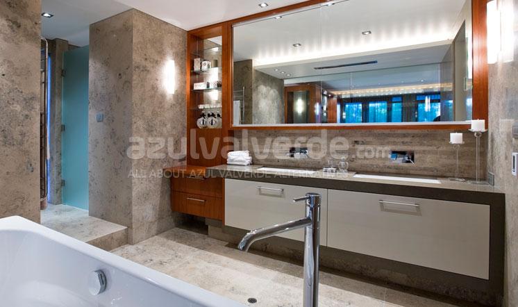 Grey limestone bathroom tiles